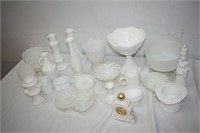 Milk Glass Vases, Bowls, Dishes etc.