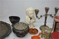 Candle Stick, Flower Frog, Tray, Tins, etc.