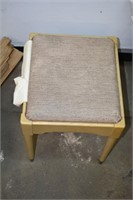 Vintage Upholstered Stool & Small Wood Boards