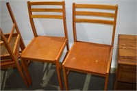 Side Table, Small Table on Casters & (4) Chairs