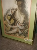 """Cat Picture 13"""" x 11"""" &  Lady With Guitar 21"""" x"""