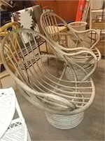 2 Wood Swivel Chairs