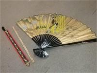 Yard Stick Holder, Oriental Style Fan