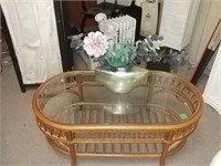 Glass Top Coffee Table & Flower Arrangement