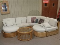 Bamboo Sectional And Glass Top Table