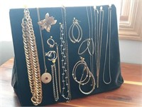 Gold genuine and costume jewelry, chains