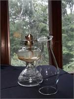 Antique kerosene lamp with extra hurricane shade