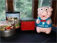 Pig cookie jar, cookie tins