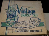 Vintage snack set by Anchor Hocking, coasters