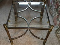 Pair brass and glass side tables