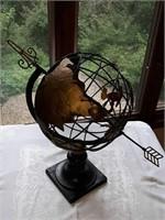 Metal globe with base