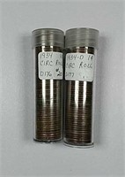 1934 & 1934-D  Rolls of circulated Lincoln Cents