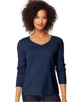 Hanes Women's Large V-Neck Long Sleeve Tee, Hanes