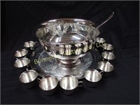 ONEIDA SILVER PLATE PUNCH BOWL & 12 CUPS