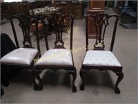 THREE CHIPPENDALE BALL & CLAW CHAIRS