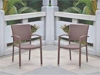 RESIN WICKER SQUARE BACK DINING CHAIRS