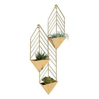 KATE AND LAUREL TAIN METAL WALL HANGING PLANTER W/