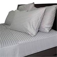 STRIPED GRAY BED SHEET 4 PC IN KING SIZE