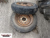 (2) 4.80-12 tires on 5 bolt rims
