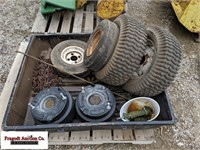 Misc lawn mower parts, includes wheel weights, cha