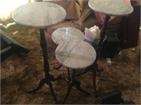 (4) MARBLE TOP PLANT STANDS