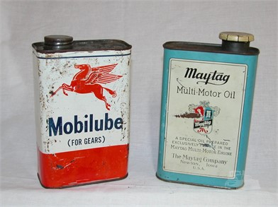 VINTAGE MOBI LUBE & MAY TAG OIL CANS Other Items For Sale