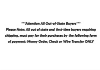 ***Attention All Out-of-State Buyers***