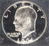 1971-S Eisenhower Proof Silver Dollar. Brown Box.