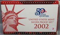 2002 United States Mint Silver Proof Set.