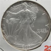 2000 One Ounce Fine Silver Eagle.