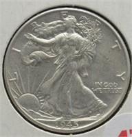 1945 Walking Liberty Silver Half Dollar.