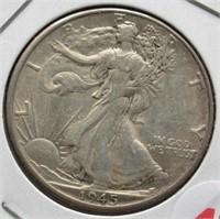 1945-D Walking Liberty Silver Half Dollar.
