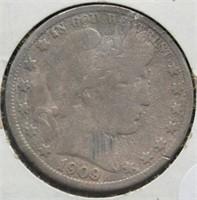 1909 Barber Silver Half Dollar.