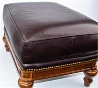 Thomasville Brown Leather Ottoman