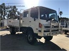 2012 Hino 500 Series 1322 GT 4x4 Crew Table / Tray Top Drop Sides