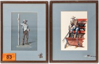 Art Two Old West Paintings by C. Kemper