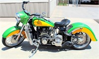 """""""ONE OF A KIND"""" CHOPPER:  2015 Custom Made Hybrid Cruizer (Harley Davidson based), 950 cc B&S Daihatsu Mdl DM954DT 3-Cyl Turbo-Diesel Eng, 6-Spd OD Trans, can run on bio-diesel fuel, old schools style chrome wheels w/spokes, front & rear disc brakes, less than 400 miles. (view 1)"""