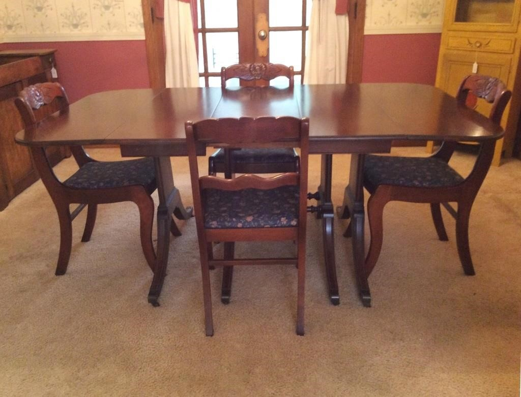 Tell City Mahogany Drop Side Table 4 Chairs Dangerfield Auctions Llc