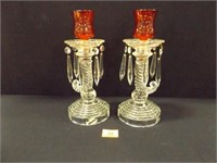 Candle Holders; vintage clear glass w/glass prisms