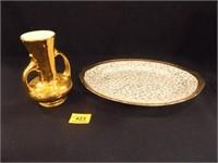Home Laughlin Platter & Pearl Gold Vase