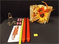 Decorative; 1 hook w/glass knob; 1-Easel; Candles