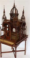 Vintage Carved Mahogany Birdcage On Stand.