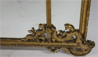 Antique Continental Giltwood Panel Mirror.
