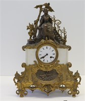 Antique Bronze And Marble Figural Clock.