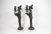 Pair of Bronze Chinoiserie Mandarin-Form Candle