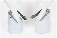 """Pair of Porcelain Cranes Marked """"Fujian Hall."""""""