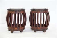 Pair of Barrel-Form Garden Stools.