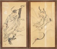 Two Japanese Paintings Mounted as Screen Panels.