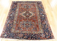 Antique And Finely Hand Woven Heriz Style Carpet.