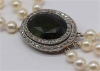 JEWELRY. Tourmaline, Diamond, and Pearl Necklace.